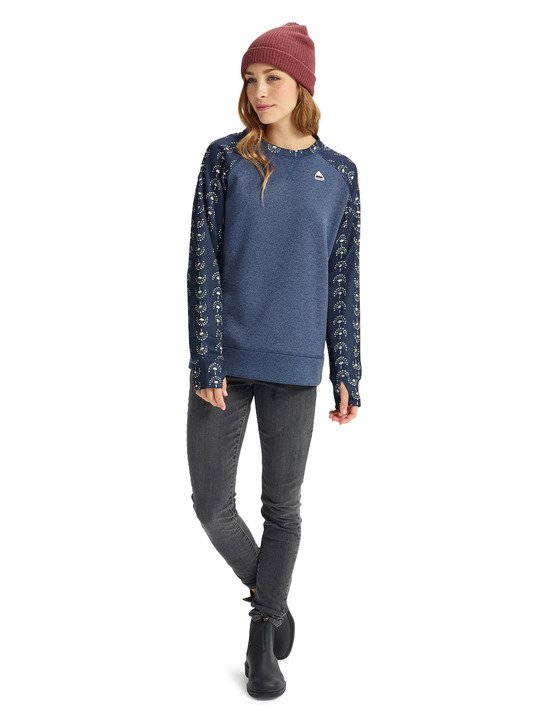 Damska Bluza Aktywna Burton Oak Crew (Mood Indigo Heather / Float Away) W19