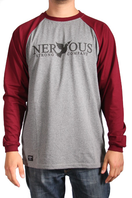 Longsleeve Nervous Classic (Grey/Maroon)