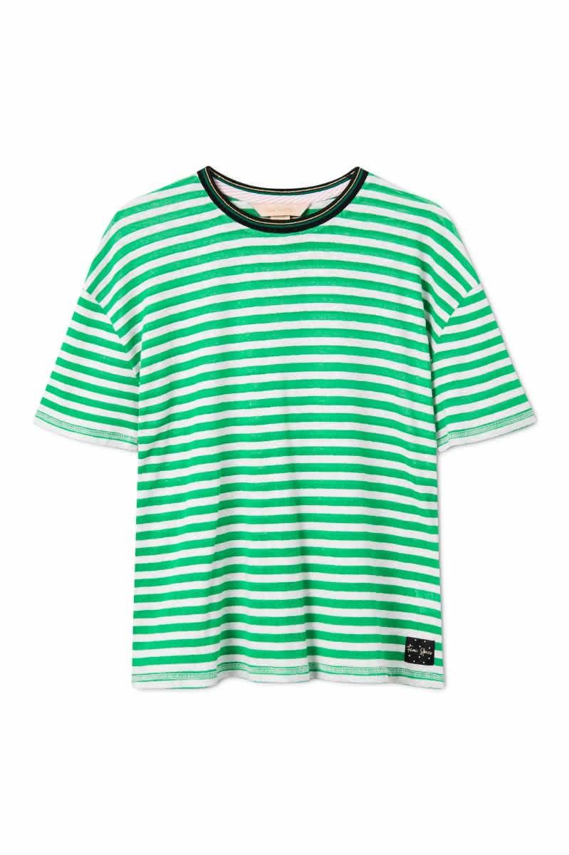 Koszulka Damska Femi Mandi (Green White Stripes)