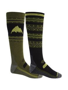 Skarpety Snowboardowe Burton Performance Lightweight 2-Pack (True Black/Martini Olive) FW21